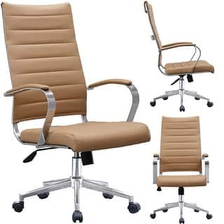 2xhome Modern Tan High Back Office Chair Ribbed Pu Leather Swivel Tilt Conference Room Computer