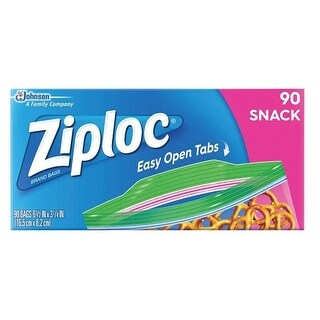 "Ziploc 71143 Zipper Snack Bag, 3-1/4"" W x 6-1/2"" L"