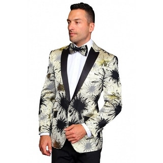 MZS-218 GOLD Men's SLIM FIT Manzini Fancy 1 button WOVEN, sport coat with black satin lapel