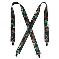 CTM® Men's Elastic Clip-End 1 1/2 Inch Guitar Pattern Suspenders - One size