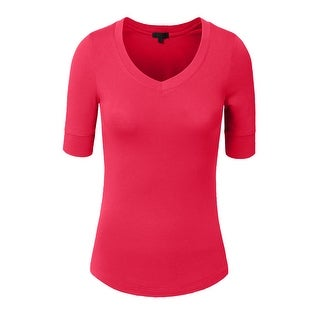 NE PEOPLE Women's 3/4 Sleeve V-Neck Line T-shirt S-3XL [NEWT23] (More options available)