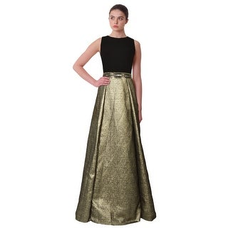 Carmen Marc Valvo Bead Embellished Waist Metallic Pleated Formal Evening Gown Dress - 14
