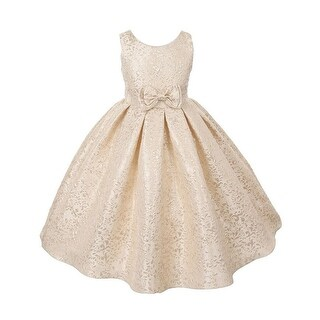 Girls Gold Brocade Sleeveless Special Occasion Easter Dress 8-12