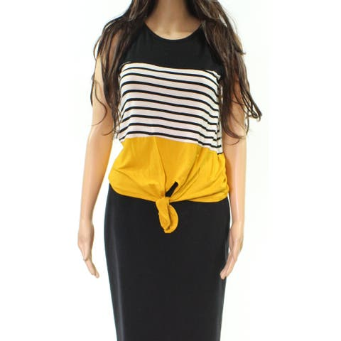 Moa Moa Yellow Multi Womens Size XS Striped Colorblock Tie Front Top 598