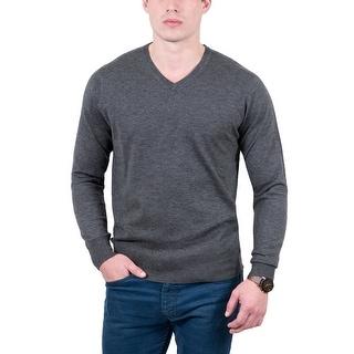 Real Cashmere Grey V-Neck Cashmere Blend Mens Sweater