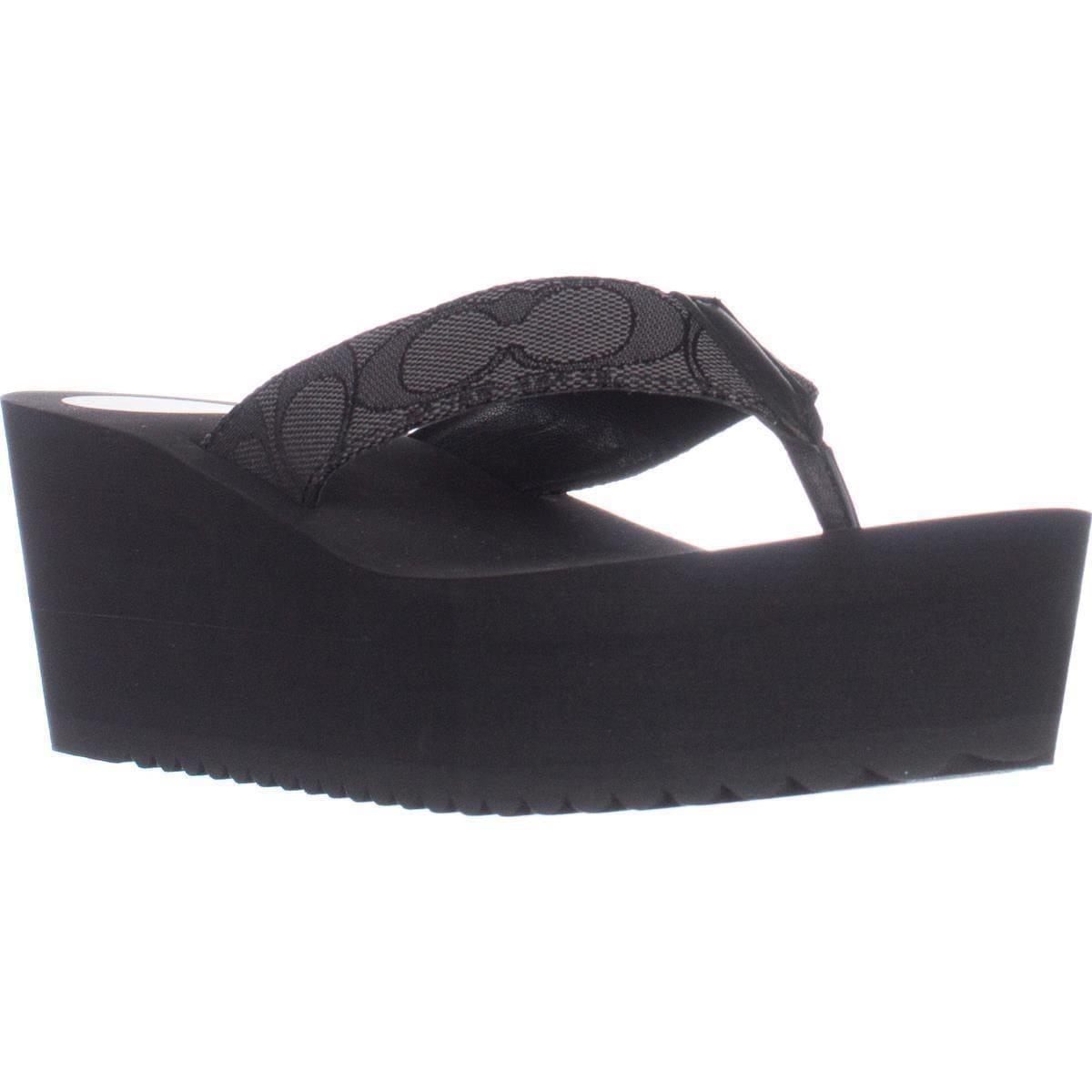 Wedge Flip Flop Sandals, Smoke Coal