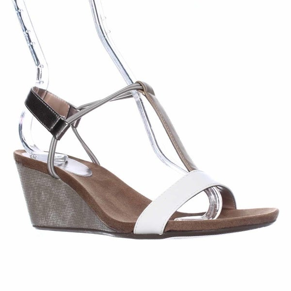 SC35 Mulan T-Strap Wedge Sandals, French Vanilla