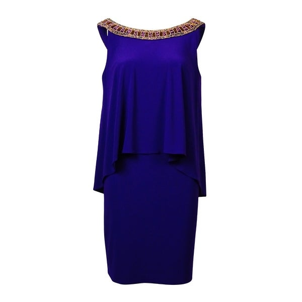 0c554d216 Shop Betsy   Adam Women s Beaded V-Back Popover Jersey Dress - Purple Gold  - On Sale - Free Shipping Today - Overstock.com - 15018536