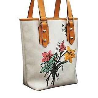 Gucci White Grasshopper Floral Tattoo Tote Bucket Bag