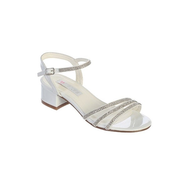 eef6779960f Shop Little Girls White Sparkle Rhinestone Strap Block Heel Sandals ...