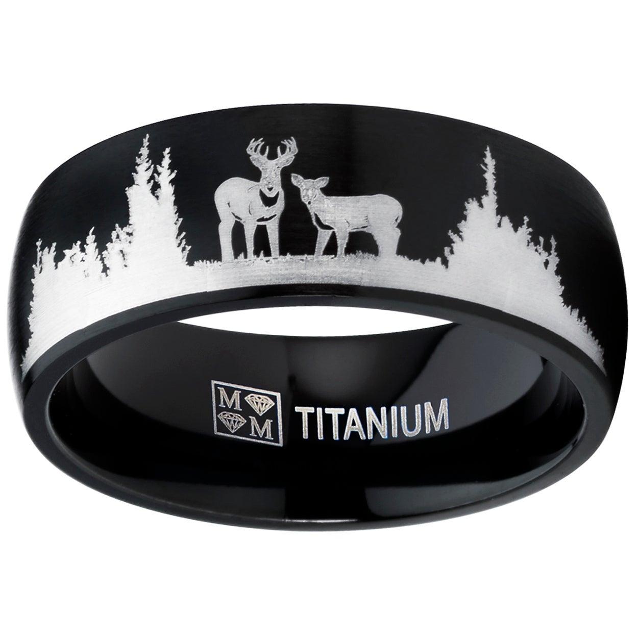 Oliveti Men's Black Outdoor Hunting Titanium Ring Band Laser Etched Deer  Stag Scene - Overstock - 17447999