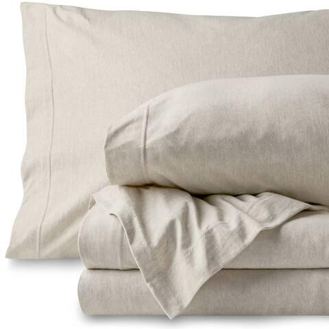 Bare Home 100% Jersey Cotton Sheet Set, Breathable & Deep Pocket