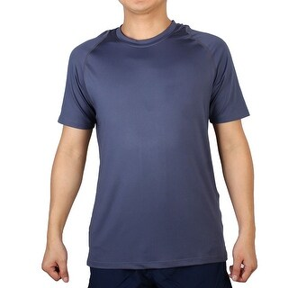 Polyester Short Sleeve Clothes Badminton Tennis Sports T-shirt Navy Blue L