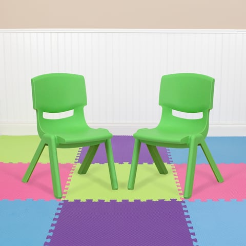 """2 Pack Plastic Stackable School Chair with 10.5"""" Seat Height - Preschool Chair"""