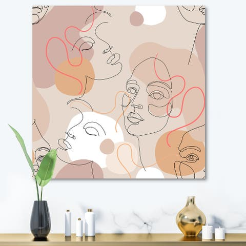 Designart 'Abstract One Line Woman Portraits' Modern Canvas Wall Art Print