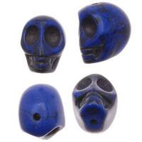Dark Lapis Blue Magnesite (Dyed)  Gemstone Beads Carved Skulls 10x12mm (20)