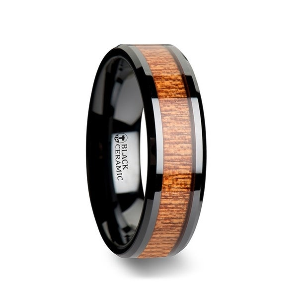 THORSTEN - BENIN Black Ceramic Wedding Band with Polished Bevels and African Sapele Wood Inlay - 10mm