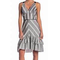 Adelyn Rae Black Womens Size XS Striped Ruffled A-Line Dress