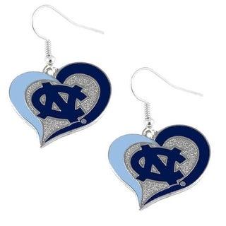 UNC University of North Carolina Tar Heels Swirl Heart Dangle Logo Earring Set Charm Gift NCAA