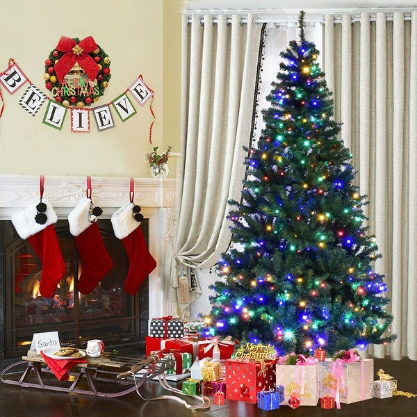 Costway 7' Pre-Lit Artificial Christmas Tree Premium Hinged w/ 500 LED Lights & Stand