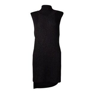 International Concepts Women's Metallic Hi-Low Sweater Dress (M, Deep Black) - Deep Black