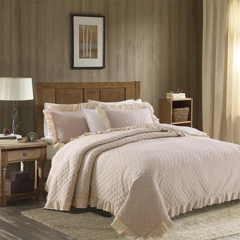Solid Quilt Set Ultra-Soft Coverlet with Quilting Ruffle Edges