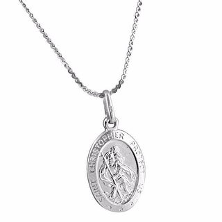 """St Christopher Medal 0.9"""" Mini Pendant Necklace 18"""" Chain ITALY Sterling Silver"""