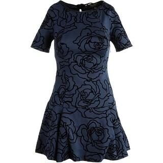 Juicy Couture Black Label Womens Flocked Rose Scuba Cocktail Dress