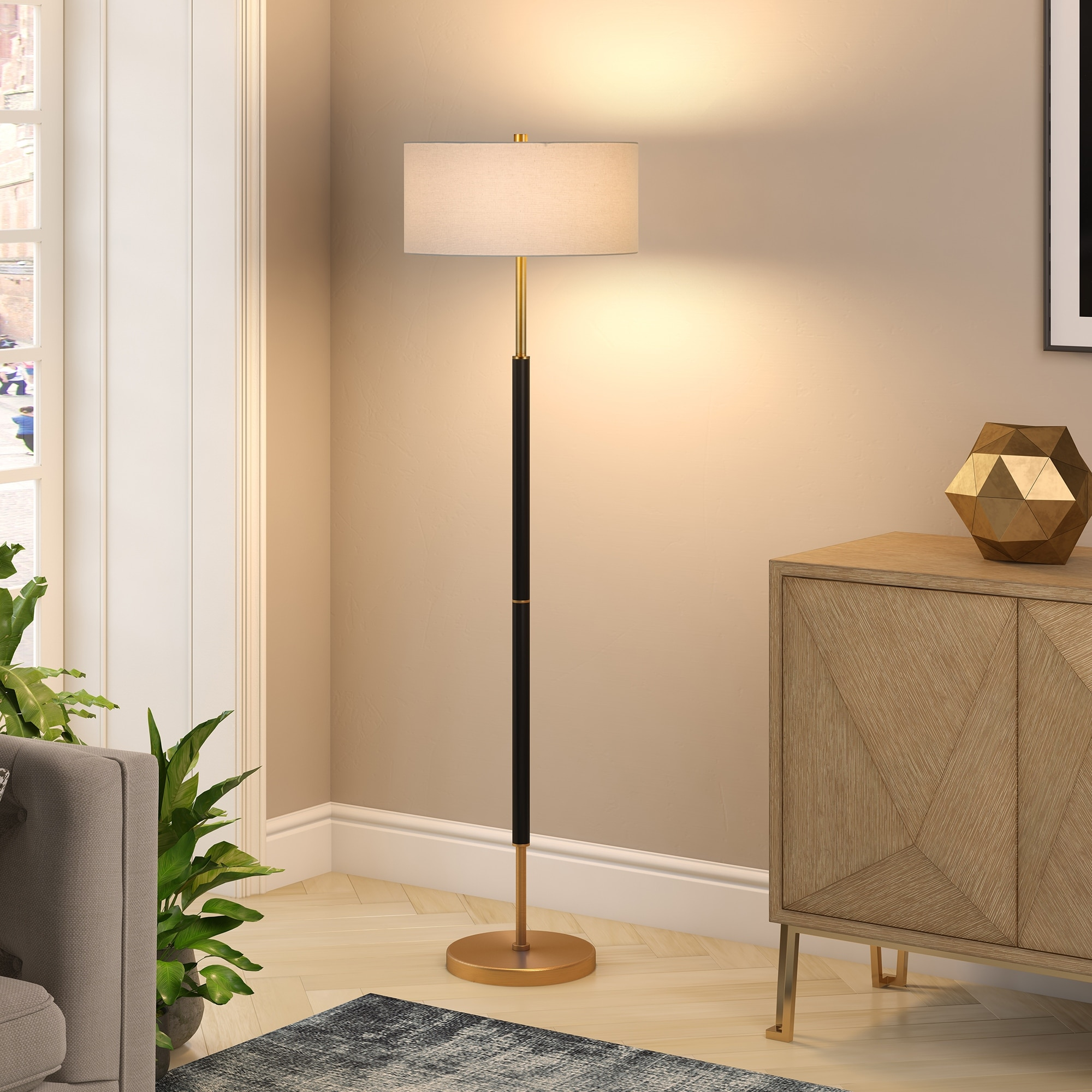 Silver-Orchid-Gotho-Matte-Black-Polished-Nickel-Floor-Lamp thumbnail 10