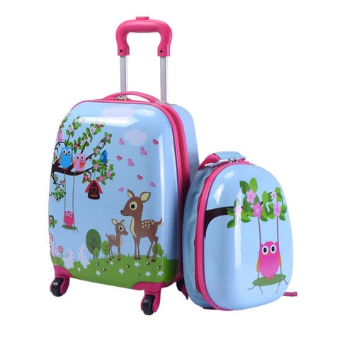 Costway 2Pc 12'' 16'' Kids Luggage Set Suitcase Backpack School Travel Trolley ABS - Green
