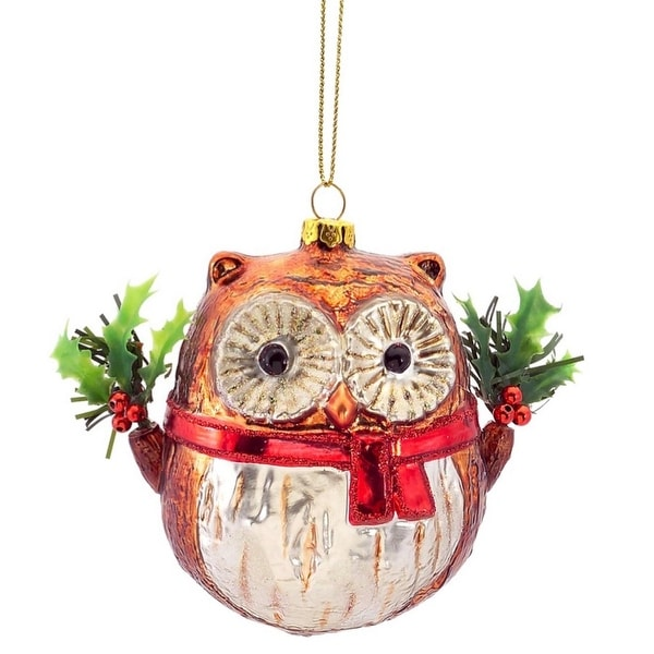 """3.5"""" Woodland Owl with Leaf and Berry Wings Glass Christmas Ornament - brown"""