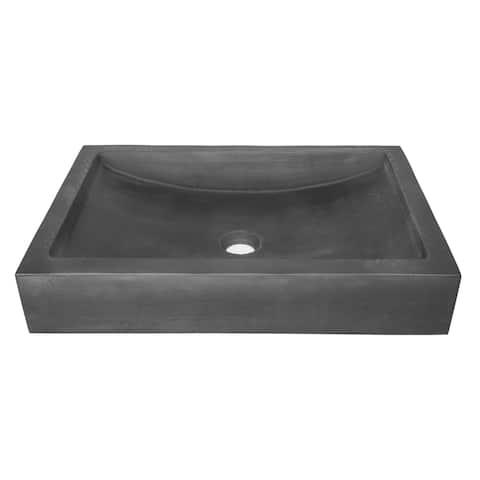 Eden Bath Shallow Wave Concrete Rectangular Vessel Sink - Charcoal
