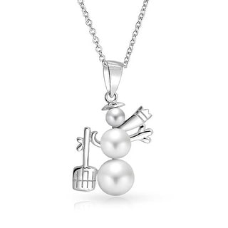 Bling Jewelry Imitation White Pearl Snowman Winter Holiday Pendant Rhodium Plated Necklace 16 Inches