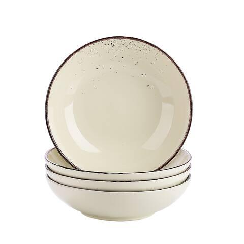 8'' Cream Ceramic Dinnerware Set Salad Pasta Bowls Service for 4