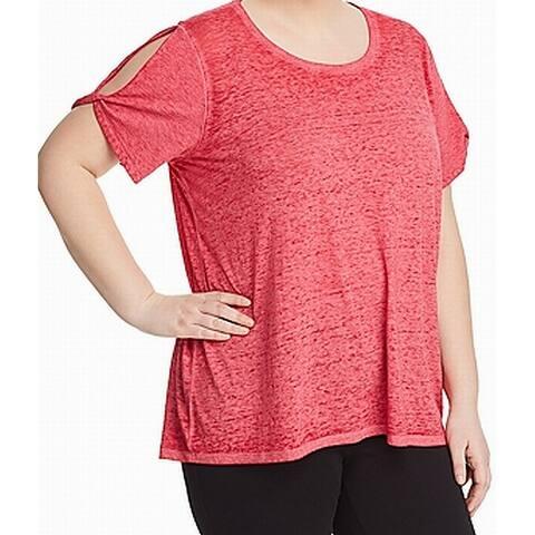 Marc York Pink Women's Size 3X Plus Semi-Sheer Split Sleeve Blouse
