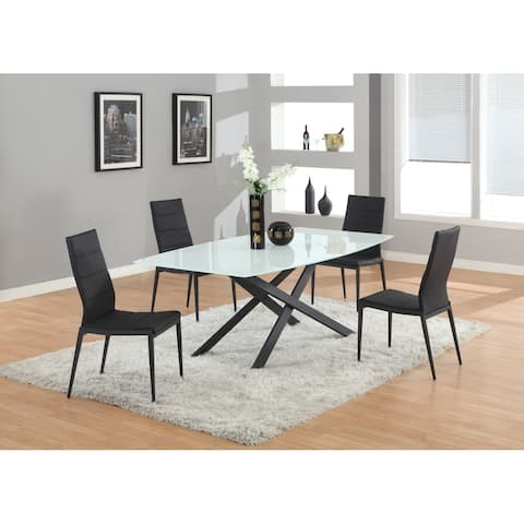 """Somette Jacelyn Dining Table with 42""""x 79"""" Glass Top"""