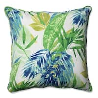 "25"" Blue and Green Caribbean Forest Decorative Outdoor Corded Throw Pillow"