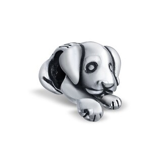Bling Jewelry 925 Sterling Silver Cute Puppy Dog Bead Charm