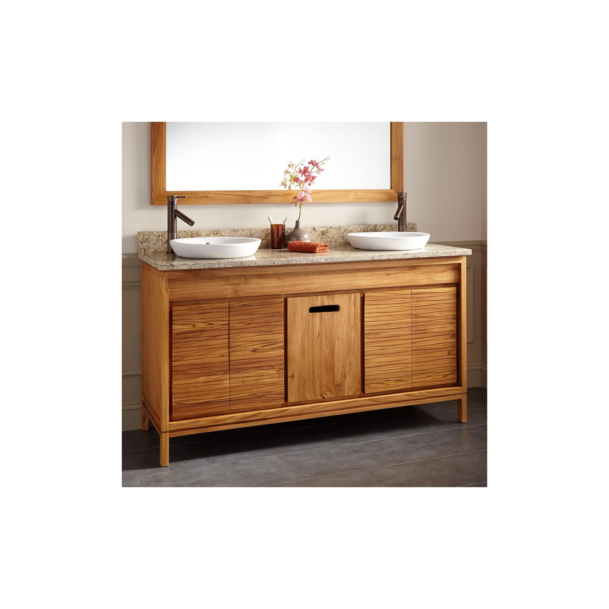 Signature Hardware 942057 Becker 60 Double Vanity Set With Teak Cabinet Granite Vanity Top And Semi Recessed Sinks Overstock 25735542