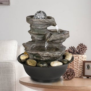 Link to 4-Tier Cascading Resin-Rock Waterfalls Tabletop Water Fountain, Garden Patio Table Decorations Fountains with Zen Elements Similar Items in Outdoor Decor