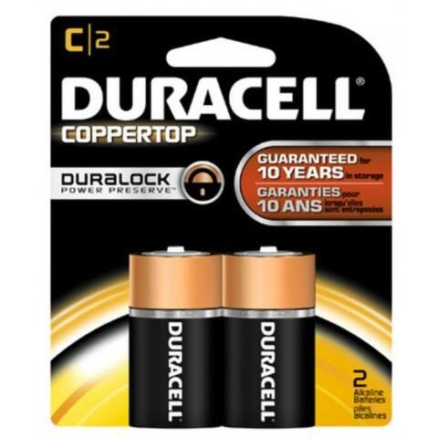 Duracell MN1400B2Z Copper Top Alkaline C Battery, 1.5 Volt, 2-Pack