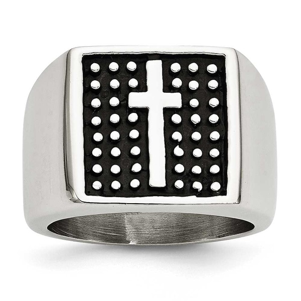Chisel Stainless Steel Antiqued Cross Polished Ring (13 mm)