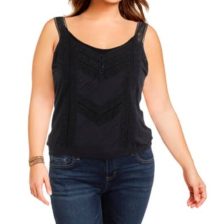 Denim & Supply Ralph Lauren Womens Casual Top Jersey Lace Inset
