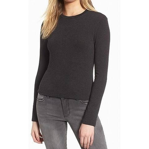 Lush Women's Top Black Size Large L Crewneck Knit Long Sleeve Casual