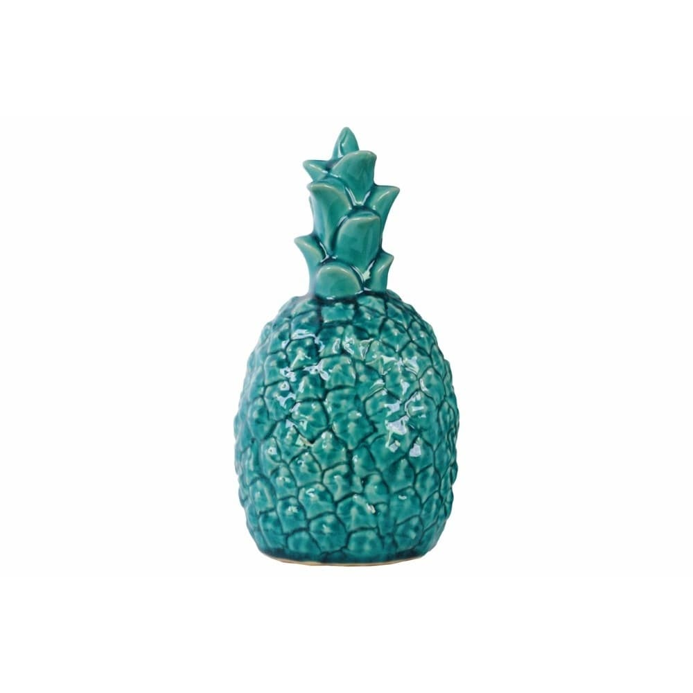 Ceramic Pineapple Figurine With Gloss Finish, Turquoise Blue