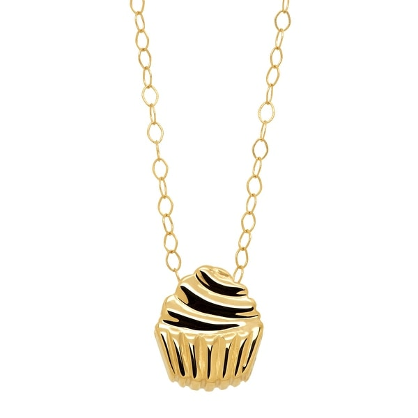 Eternity Gold Teeny-Tiny Cupcake Pendant in 10K Gold - Yellow