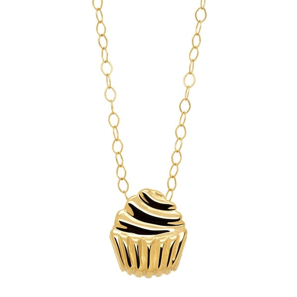 Just Gold Teeny-Tiny Cupcake Pendant in 10K Gold - Yellow