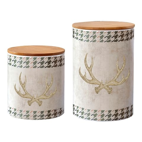 HiEnd Accents 2 PC Antler Design Canister Set - N/A