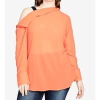 Rachel Rachel Roy Orange Women's Size 16W Plus Open Drape Blouse