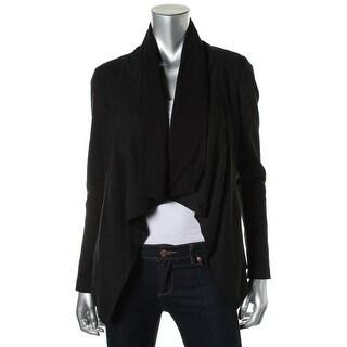 Pure DKNY Womens Lambskin Leather Ponte Panels Open-Front Blazer - M